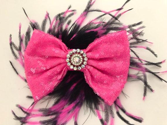 Pink and Black Bow, Dance Costume Hair piece, Bubble Gum Pink Bow, Hot Pink Bow, Pink Feather Clip, Hot Pink Bubble Gum Hair Bow, Dance Cost