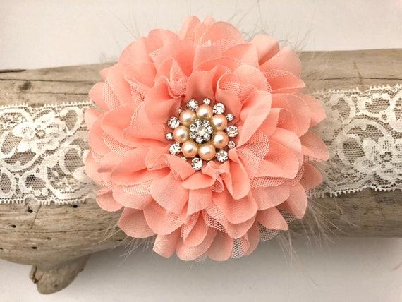 Peach Flower Baby Headband, Spring Flower Lace Headband,  Flower Girl Headband, Peach Hair Clip, Flower Girl Hair Clip, Bridal Hair Clip,