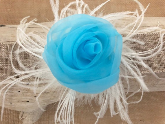 Blue Floral Fascinator, Turquoise Floral Clip, Coral clip, Purple Floral Clip, Bridal Flower Hair Clip, Easter Flower Girl Clip, Derby Hat,