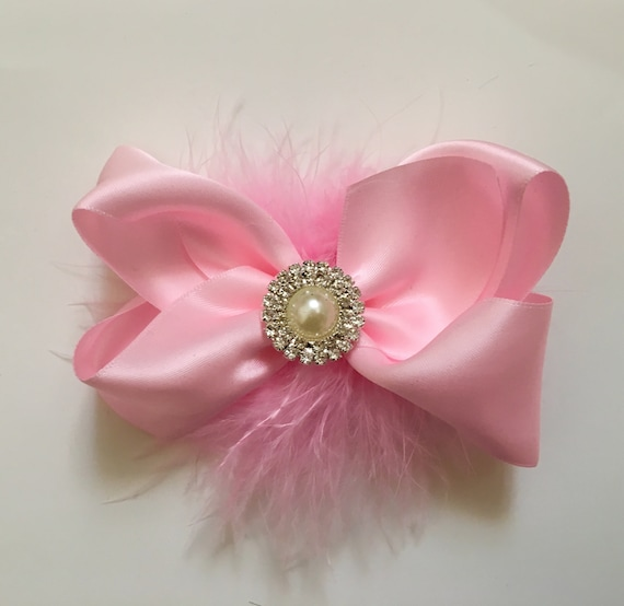 Pink Hair Bow, Pale Pink Hair Clip, Hot Pink Bow, Flower Girl Hair Bow, Satin Hair Bow, Holiday Hair Bow, Small Hair Bow, Pink Baby Bow