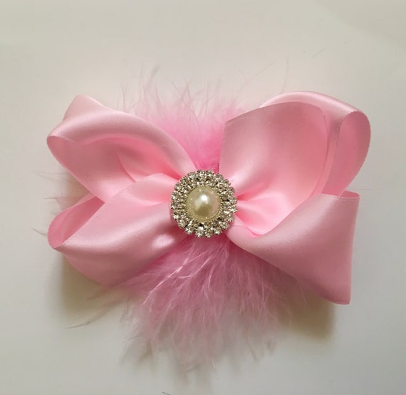Pink Hair Bow, Pink Clip, Flower Girl Hair Bow, Satin Hair Bow, Holiday Hair Bow, Small Hair Bow, Baby Bow, Pink Pearl Bow, Portrait Bow
