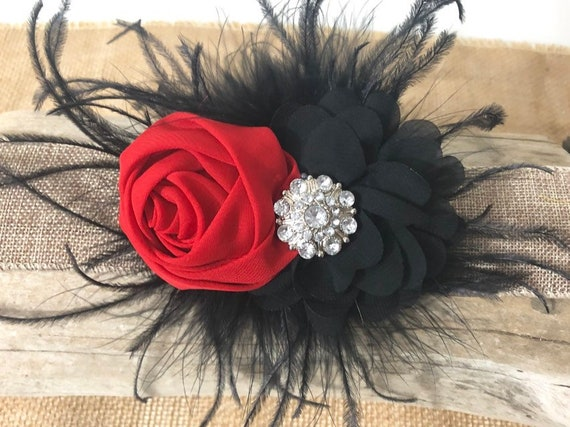 Red Black Floral Head piece, Wedding Hair Accessories, Black Red Hair Piece, Red Black Bow, Bridal Clip, Flower Girl Clip, Dance Costume, Po