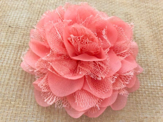 Coral Flower Hair Clip, Coral Flower Clip, Peach Coral Clip, Flower Girl Clip, Flower Clip, Wedding Bridal Flower Clip, Chiffon Flower Clip