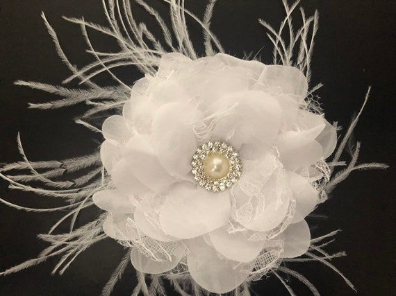 White Flower Hair Clip, Wedding Headpiece, Bridal Fascinator, Communion Flower Girl Flower Crown,Kentucky Derby Clip