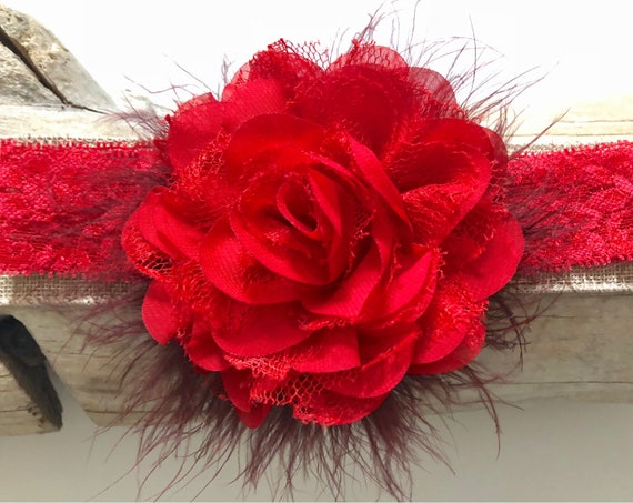 Red Floral Headband, Red Flower Clip, Portrait Photo, Flower Girl Clip, Newborn Headband, Toddler Headband