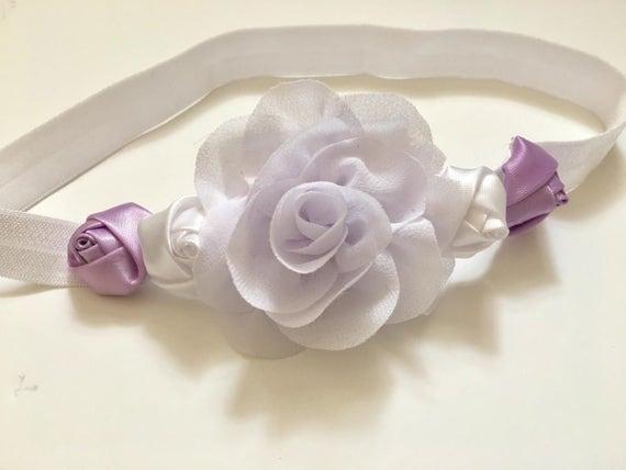 Lavender White Rose Baby Headband, Baptism Headband, Baby Gift,  Newborn Headband, photo prop