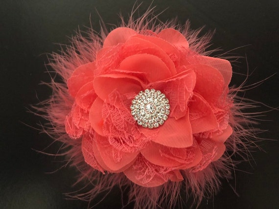 Coral Floral Hair Clip,Ivory Flower Clip,Bridal Flower Girl Wedding Hair Clip, All Colors,Ivory,Pink,Hot Pink, Aqua, Mint, Grey,Purple,Red C