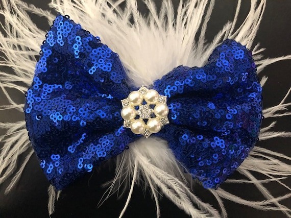 Blue and White Feather Bow, Pearl Crystal Hair Bow, Royal Blue Hair Bows, White Blue Hair Bow, Feather Hair Clips, Dance Costume Hair Clips