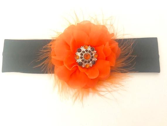 Halloween Baby Headband, Orange Black Halloween Headband, Floral Orange Clip, Black Orange Clip, Halloween Bow, Fall Harvest Clip