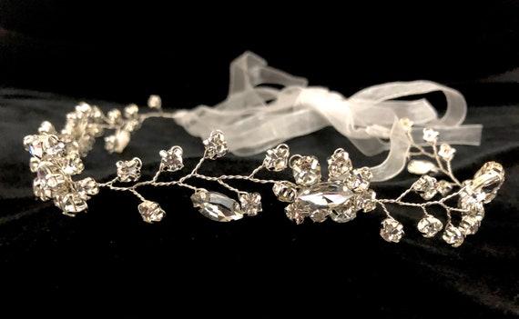 Flower Girl Silver Crown, Gold Crystal Crown, Communion Crown, Bridal Wreath, Bridal Crown, Wedding Crown, Crystal Flower Crown