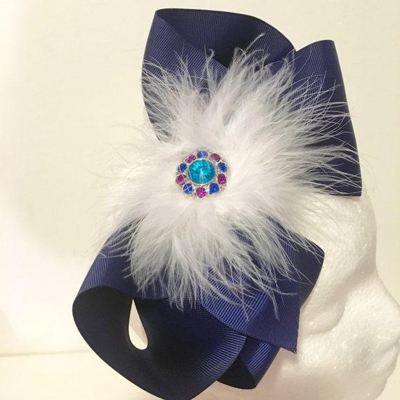 Back to School Headband, Blue Bow Headband Fascinator, Jo Jo Bow Headband, Navy, Pink, Purple, Lavender Big Bow Headband, 8 inch hair bow,