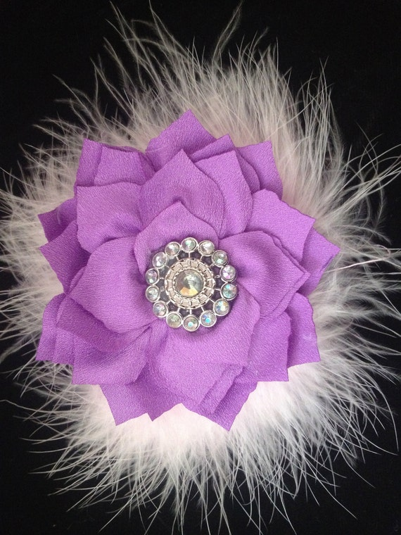 Lavender, Small Flower Hair Clip, Flower Girl Hair Clips,Chiffon Marabou Hair Flower Clip or Headband, Small Lavender Flower Clip, Ivory