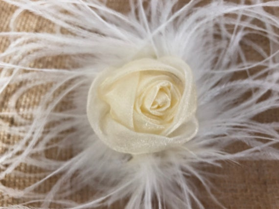 Floral Gold Hair Clip, Pink Hair Clip, White Flower Hair Clip,  Wedding Bridal Fascinator, Wedding Bridal Flower Girl Clip, Feather Clip