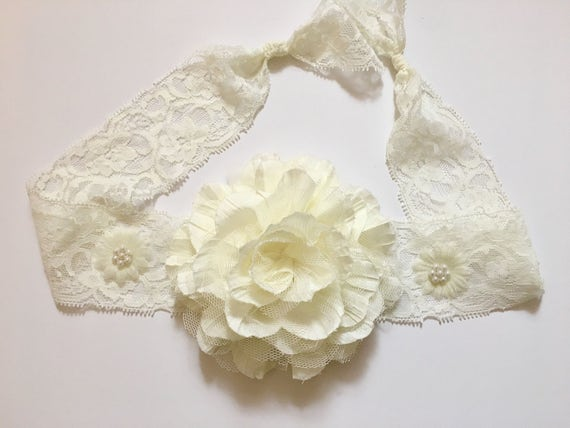 Ivory Floral Lace Headband Flower Lace Hair Tie Back Baptism  fcbeaa4dc0c
