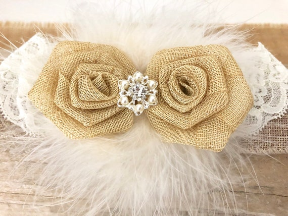 Rustic Hair Clip, Ivory Clip, Flower Girl clip, Rustic  Headband, Woodland Headband, Ivory Burlap  Clip, Floral Crown Headband