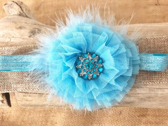 Baby Blue Floral Headband, Light Blue Baby Headband, Turquoise Blue Rhinestone Flower Headband, Custom Baby Hair Accessories, Baby Gift Sets