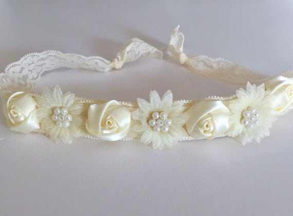 Ivory Baby Rosette Lace Tie Back Headband, Baptism Headband, Flower Girl Headband, Small Mini Hair Flower Lace Headband. Newborn - Adult