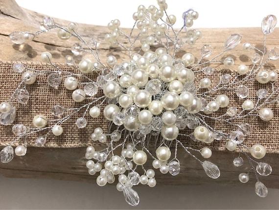 Wedding Hair combs, Pearl Hair Comb, Crystal Pearl Hair Vine Comb, Crystal Hair Comb, Bridal Pearl Hair Jewelry, Vintage Wedding Hair comb