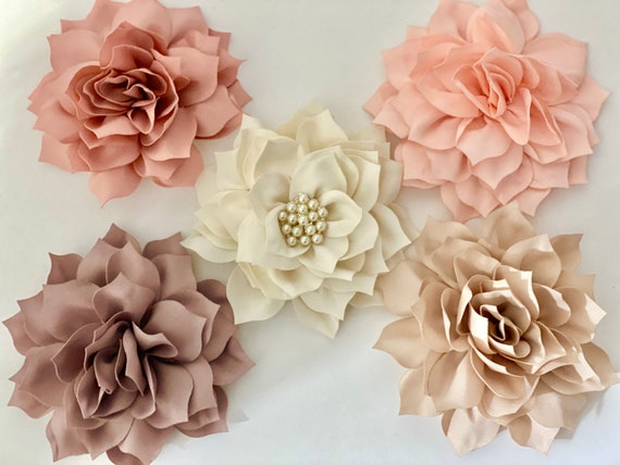 Flower Hair Clips, Blush Hair Clip, Ivory Hair Clip, Dusty Rose Clip, Taupe Hair Clip, Wedding Flower Hair Accessories,Crystal Pearl Flower