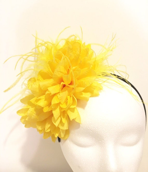 Yellow Flower Headband Fascinator, Big Flower Headband, Yellow Feather Flower Headband, Dance Costume Headband, Flower Girl, Back to School