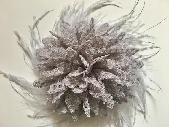 Gray Silver, Flower Feather Hair Clip, Bridal Hair Pieces,  Flower Girl Hair Accessories, Holiday Hair Clip, Dance Costume Hair Clip