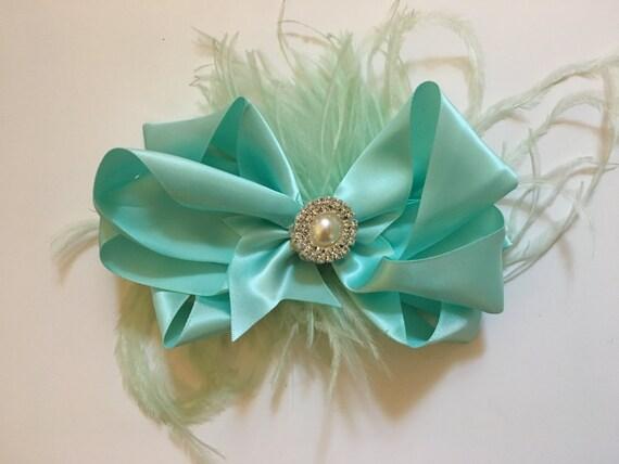 Mint Hair Bow, Mint Pearl Rhinestone Hair Bow, Feather Hair Bow, Flower Girl Hair Bows, Wedding Hair Accessories, Satin Hair Bow