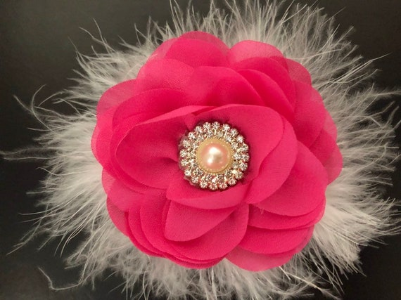 Pink Floral Hair Clip, Fushia Flower Girl Hair Clip, Hot Pink Pearl Clip, Baby Headband, Bridal Hair Accessories, Easter Bow,
