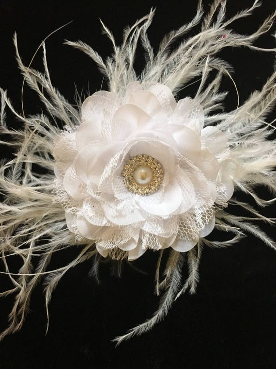Floral Fascinator, White Flower Clip, Pearl Flower Clip, Bridal Hair Clip, Brides Maid Flower Girl Hair Clip, Floral Feather Hair piece
