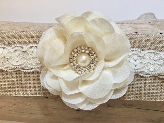 Ivory Flower Headband, Baptism Headband, Baby Headbands, Flower Headband, Ivory Flower Lace Baby Headband, Newborn-Toddler