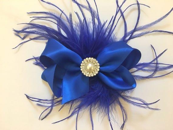 Royal Blue Hair Bow, Feather Hair Bow, Navy Hair Bow, Flower Girl Clip, Bridal Clip, Silver Bow, Flower Girl Hair Bow, Holiday Hair Bow, Sat