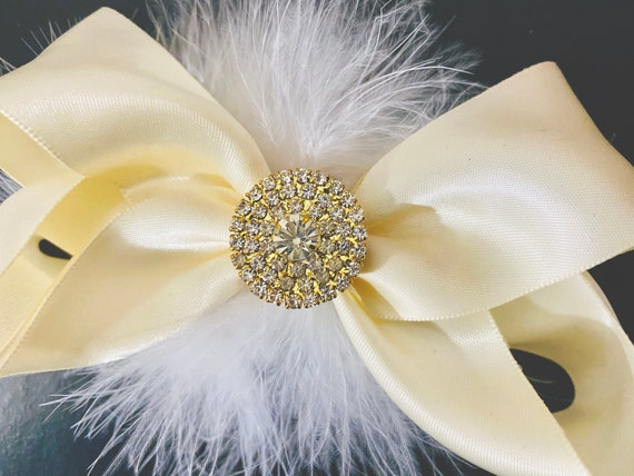 Ivory Gold Hair Clip, White Gold Hair Bow, Silver Ivory Bow, Silver Crystal Pearl Bow, Gold Crystal Hair Bow, Christmas Hair Bows