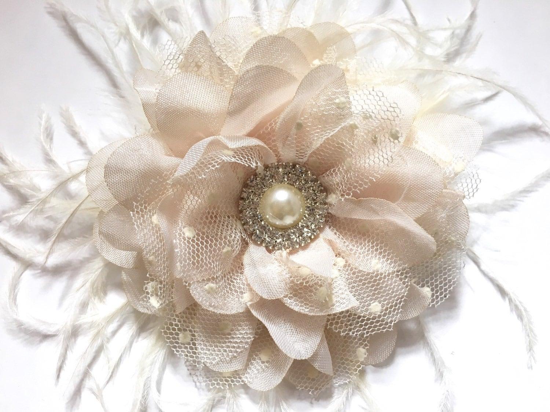 Off White Flower Clip Nude Beige Hair Flower Clip Bridal Hair Clip