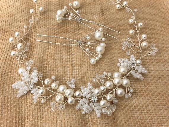 Rustic Flower Crown, Crystal Flower Crown, Pearl Crown, Communion Crown Wreath, Bridal Floral Crystal Crown, Wedding Crown