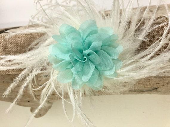 Mint Flower Clip, Baby Flower Mint Clip, Mint Ivory Pearl Feather Hair clip, Flower Girl Hair Clip, Bridal Hair Clip, Mint Flower Headband