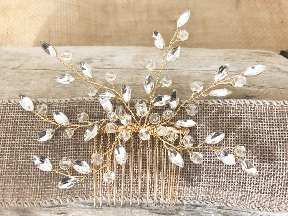 Gold Hair Comb, Crystal Bridal Hair Comb, Pearl Crystal Gold Hair Comb, Wedding Crown, Hair Comb, Gold Crystal Hair Clip, Hair Jewelry, Gold