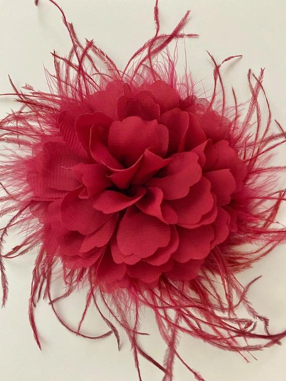 Burgundy Hair Clip, Dusty Rose Hair Clip, Dusty Pink Rose Feather Hair Clip, Burgundy Flower clip, Wedding Hairpiece, Bridal Hair Clip