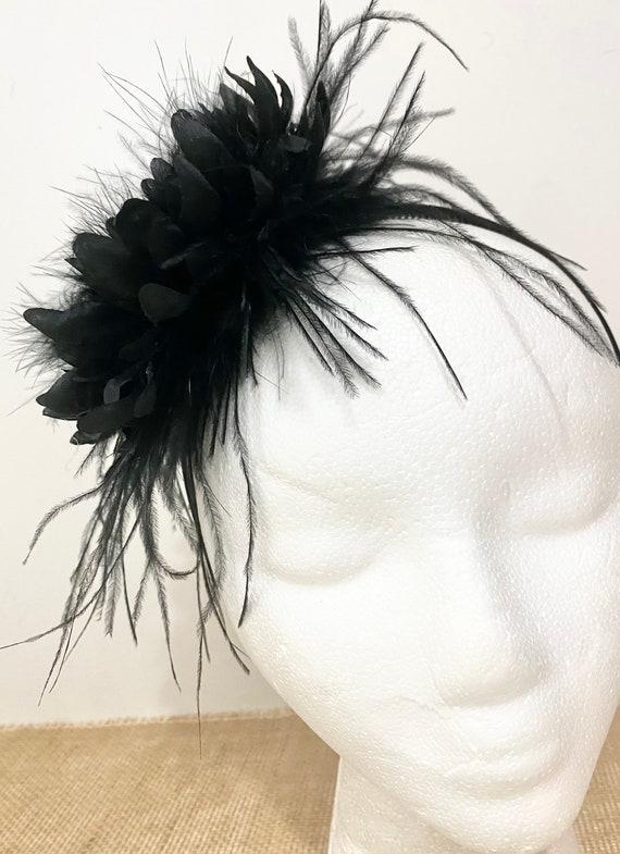 Black Fascinator Headband, Black Feather Headband Fascinator Flower Headband, Bridal Flower Girl Headband, Kentucky Derby Fascinator