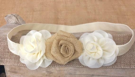 Rustic Floral Headband, Beige Ivory Burlap Headband, Baptism Headband, Bridal Flower Girl Headband, Woodland Rustic Headband, Blossom Flower