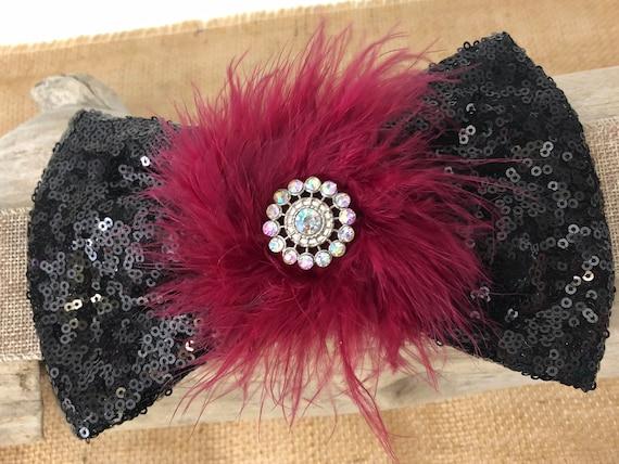 Burgundy Wine Black Hair Bow, Black Burgundy Bow, Holiday Hair Bow, Portrait photo, Dance Costume Hair Bow, Bridal Hair Clip, 8in Bow
