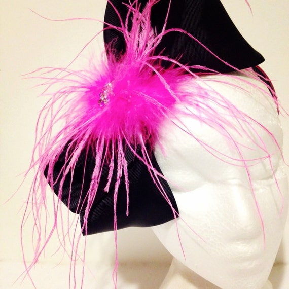 Black Hot Pink Feather Bow Fascinator Headband, Dance Costume Hair piece, Pageant Hair piece, Jo Jo Bow Headband