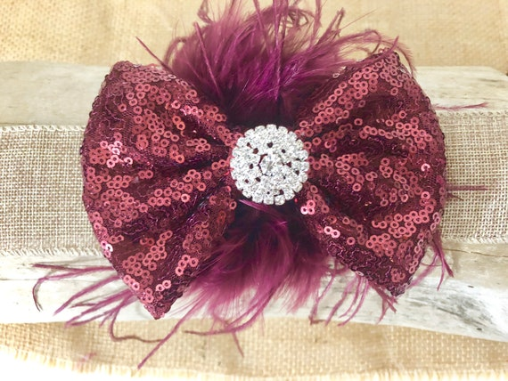 Burgundy Hair Bow, Burgundy Feather Bow Clip, Christmas Hair Bow, Wedding Hair Clip, Flower Crown Clip, Flower Girl, Dance Costume Clip