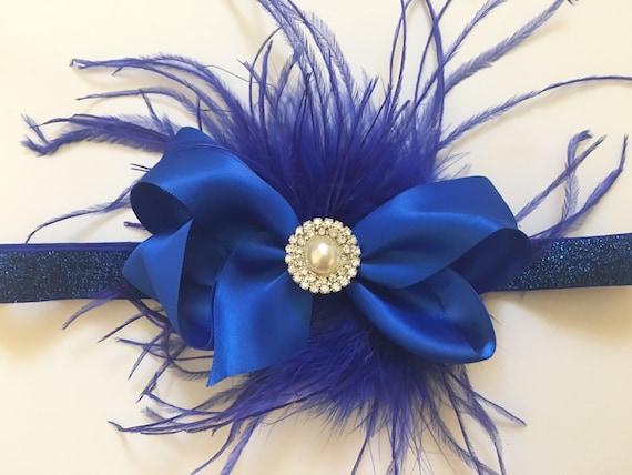 Holiday Headband, Royal Blue  Hair Bow Headband, Baby Headband, Flower Girl Headband, Satin Hair Bow, Feather Hair Bow Headband,