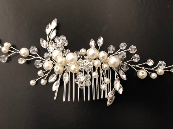 Pearl Hair comb, Bridal Pearl Hair Conv, Rhinestine Pearl Hair comb, Freshwater Pearl Bridal Hair Comb, Rhinestone Silver Hair Comb, Decora