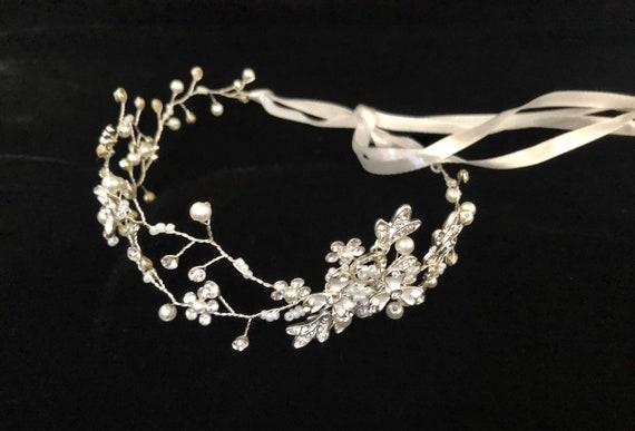 Flower Girl Crown, Rose Gold Wedding Crown, Silver Flower Crown, Wedding Bridal Headband, Baby Birthday Halo Wreath