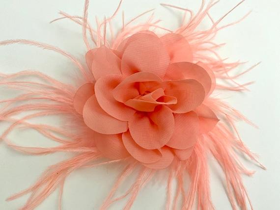 Wedding Hair Accessories, Floral Hair Clip, Light Coral Flower Fascinator, Bridal Flower Clip, Custom Hair Fascinator, Flower Hair Jewelry