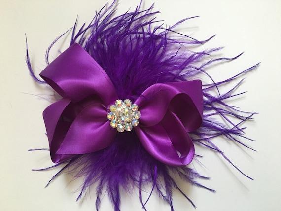 Purple Hair Bow, Purple Feather Hair Bow, Bridal Hair Bow,Flower Girl Hair Bows, Holiday Hair Bows, Red, Navy, Gray Satin Hair Bows