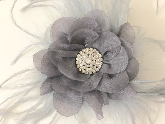 Silver Grey Floral Clip, Grey Flower clip, Bridal Hair Clip, Feather Fascinator, Flower Girl Clip, Light Gray Clip