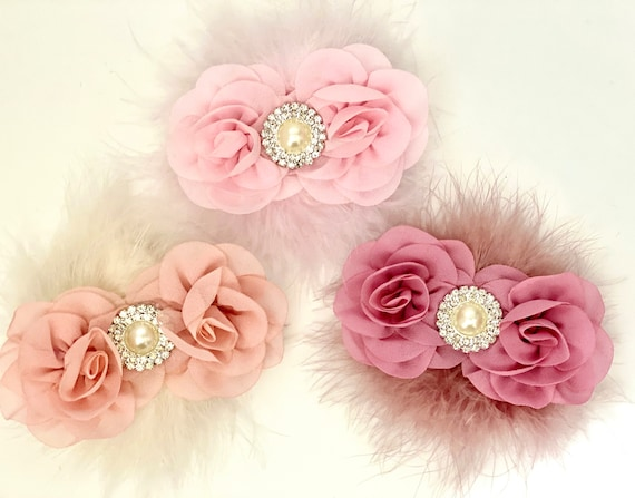 Dusty Rose Hair Clip, Dusty Pink Flower Clip,Blush Hair Clip, Pink Flower Clip, Pale Pink Flower Clip, Wedding Flower Girl Clip,Feather Clip