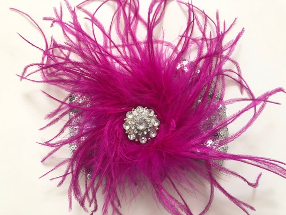 Raspberry Purple Feather Dance Costume Hair piece, Silver Sequin Bow, Dance Competition Hair Clips, All Color Feathers and Hair Bows!