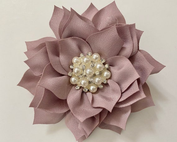 Floral Hair Clips, Easter Hair Bows Wedding Flower Girl Hair Clips, Taupe Flower Clip, Blush, Champagne Beige, Dusty Pink Rose, Ivory clips